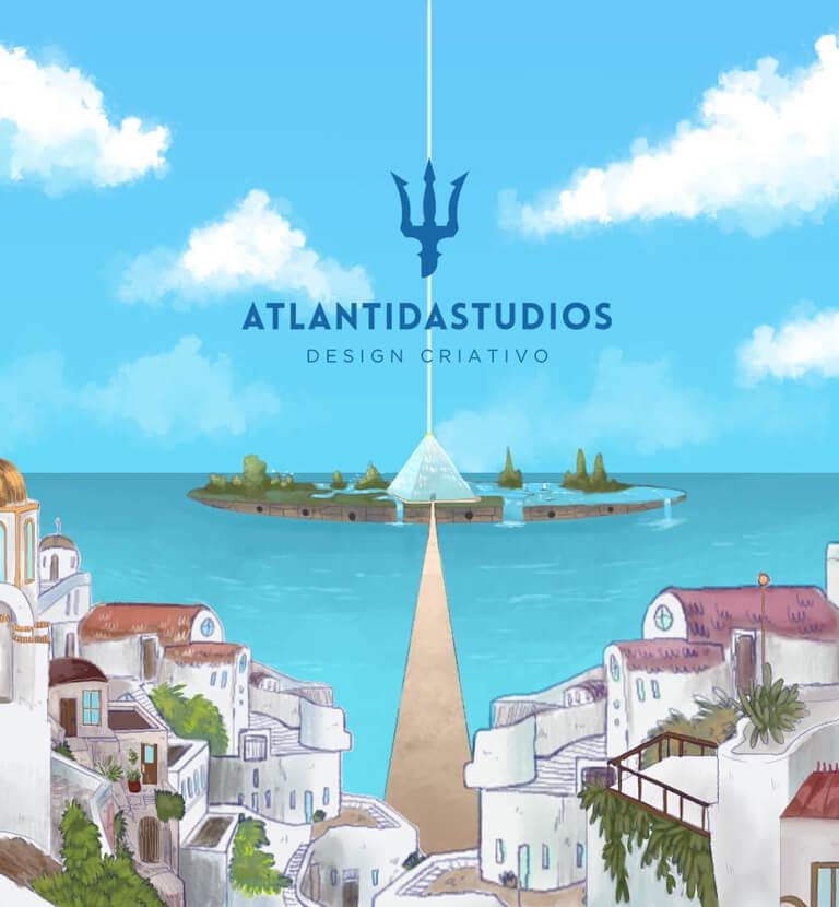 Ilustração animada que mostra os conceitos de design criativos sendo aplicados na hipotética cidade de Atlântida.