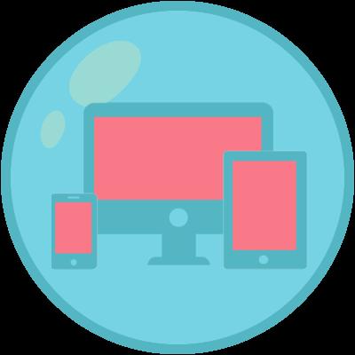 Um monitor, um tablet e um celular mostrando que os websites que fazemos são responsivos
